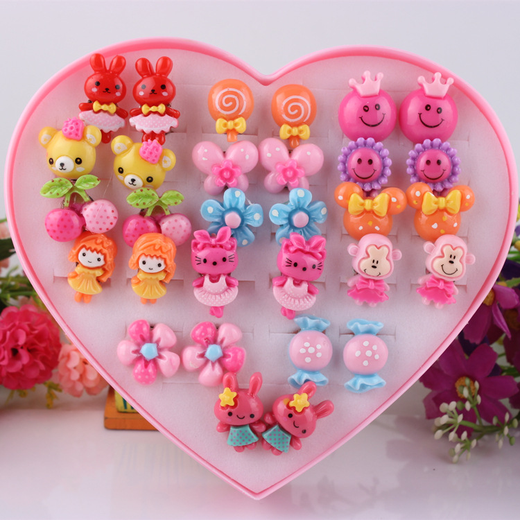 5pcs/lot Mixed Styles Lot ovely Cartoon Children Jewelry Baby Girl Earrings Kids Ear Clip On Pierced Alloy Painless Earrings(China)