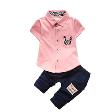 цена на Summer two-piece boys'suit for children aged 1-5 years pure cotton children's short-sleeved shirt children's suit