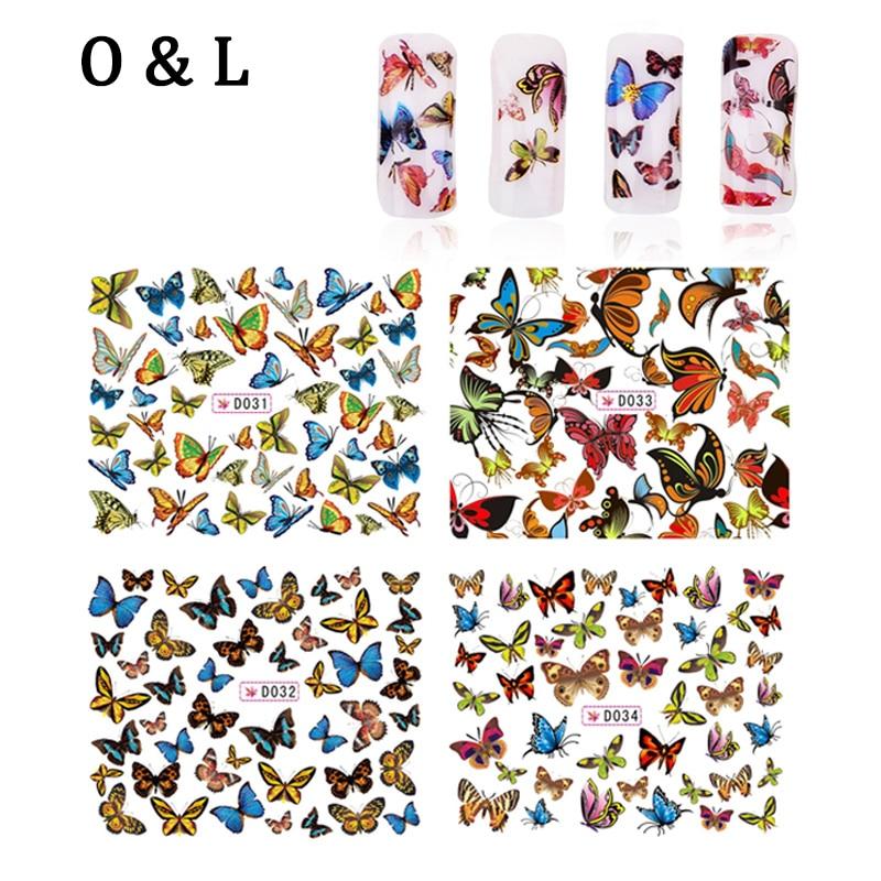 Water Transfer font b Nail b font Art Stickers 4pcs lot Butterfly Design font b Nail