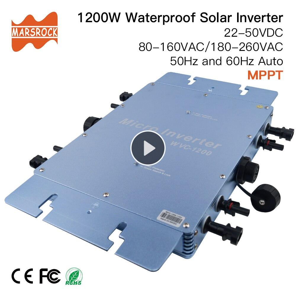 Wasserdicht 1200W Micro Grid Tie Solar Inverter DC 22-50V zu 80-160VAC oder 180-260VAC, 50 hz/60 hz, für 4 stücke 300W Solar panels