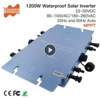 Waterproof 1200W Micro Grid Tie Solar Inverter DC 22 50V to 80 160VAC or 180 260VAC, 50hz/60hz, for 4pcs 300W Solar panels