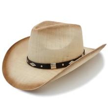 Tejido a mano Sombrero vaquero de paja para las mujeres hombres occidental  Sombrero de paja Playa Sol Sombrero de vaquera tamaño. 020baf67915