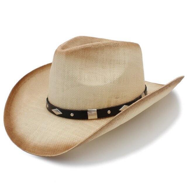 Tejido a mano Sombrero vaquero de paja para las mujeres hombres occidental Sombrero  de paja Playa 9ffd4f991aa