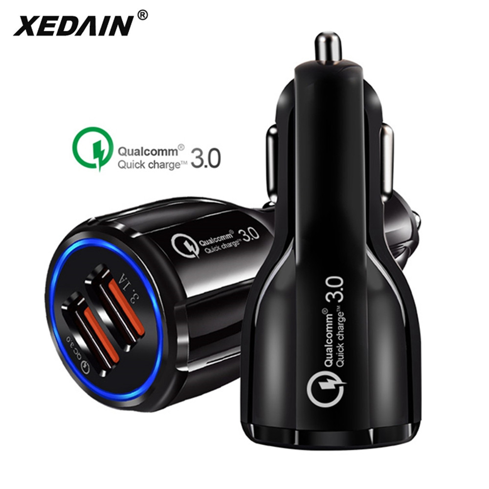 XEDAIN 3 1A Car Micro USB Charger Quick Charge 3 0 Mobile Phone Charger 2 Port USB Fast Car Charger for iphone ios Android Phone in Car Chargers from Cellphones Telecommunications