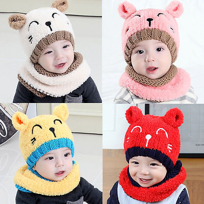 Pudcoco Cute Toddler Kids Baby Infant Girl&Boy Winter Warm Crochet Knit Hat Plush Collar Beanie Cap 2pcs