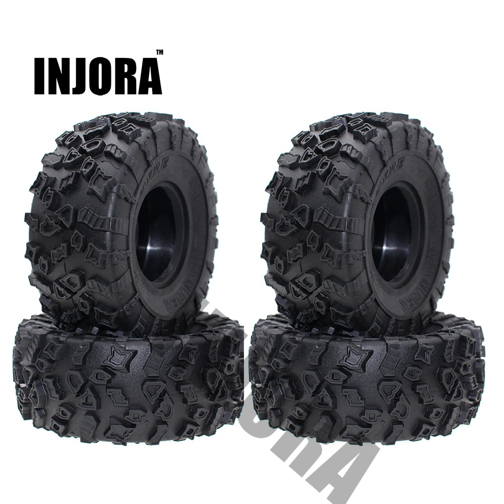 4Pcs 2.2 Inch Rubber Tyres Wheel Tires for 1/10 RC Rock Crawler SCX10 RR10 Wraith 90056 90045 90031 90020 YETI Rock 90026 90025 4pcs 1 9 rubber tires