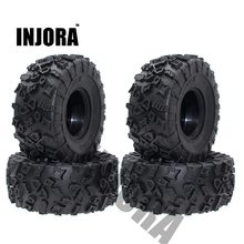 Injora 4 pçs 2.2 Polegada pneus de borracha pneus roda para 1/10 rc rock crawler scx10 rr10 wraith yeti 90026 90020 90031 90045 90056