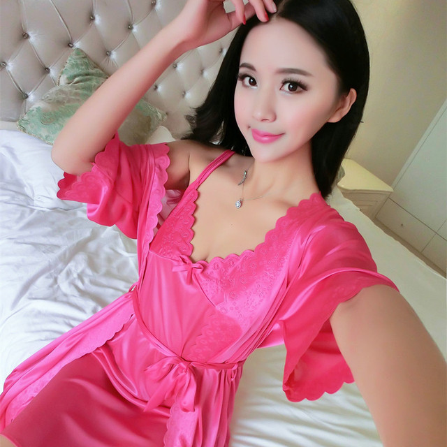 women summer ice wire harness womens pajamas red two-piece plus-size nightgown blue sexy loose gown lace up nightdress woman