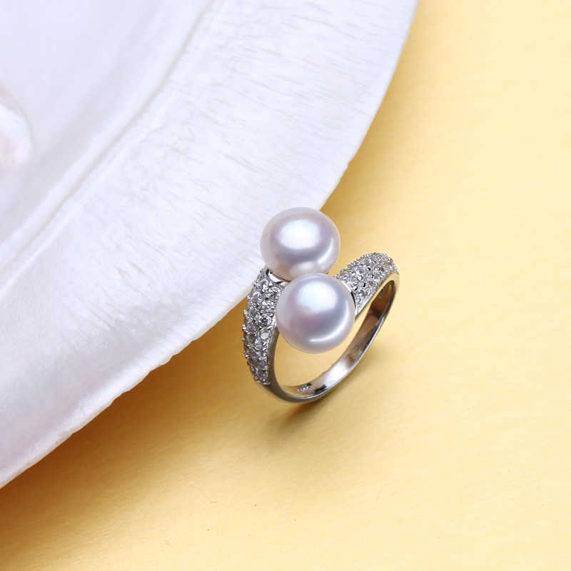 FENASY Pearl เครื่องประดับไข่มุกน้ำจืดไข่มุกคู่แหวนแต่งงานหมั้น 925 เงินสเตอร์ลิงแหวนเงินผู้หญิงแหวนค็อกเทล