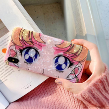 Cartoon Sailor Moon Girl Big Eye Phone Case For iphone 6 6s 7 8 plus X Bling Glitter Soft Back Cover for iphoneXS XR XS MAX