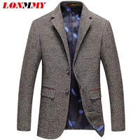 LONMMY 3XL Business Mens Blazer Jacket Patch Design Slim Fit Fashion Blazer Mens Suits Polyester Casual