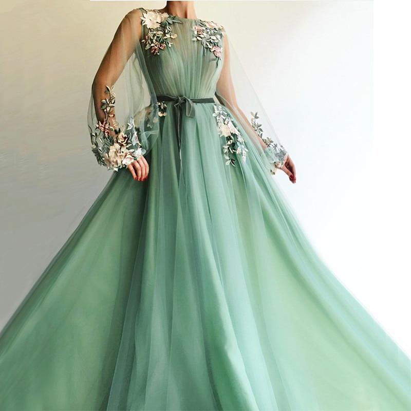Mint Green Muslim Evening Dresses 2019 A-line Long Sleeves Flowers Long Islamic Dubai Saudi Arabic Long Formal Evening Gown