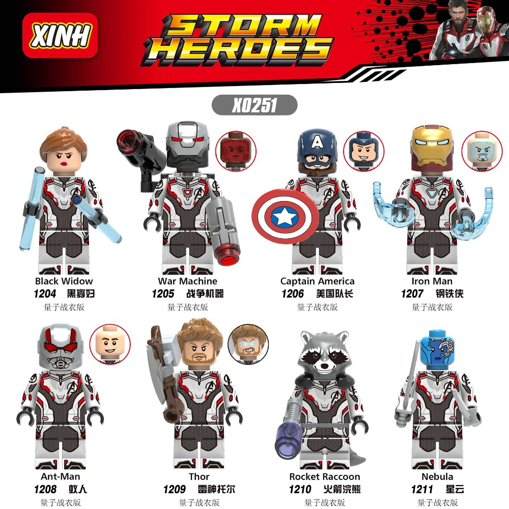 Single Sale LegoINGlys Avengers 4 Super Heroes Black Widow War Machine Thor Iron Man Figures Building Blocks Toys For Children