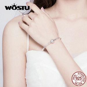Image 3 - WOSTU تألق نجوم أساور 100% 925 مجوهرات الفضة القياسية والزركونيوم إسورة حلية مستديرة للنساء الفضة 925 مجوهرات CQB144