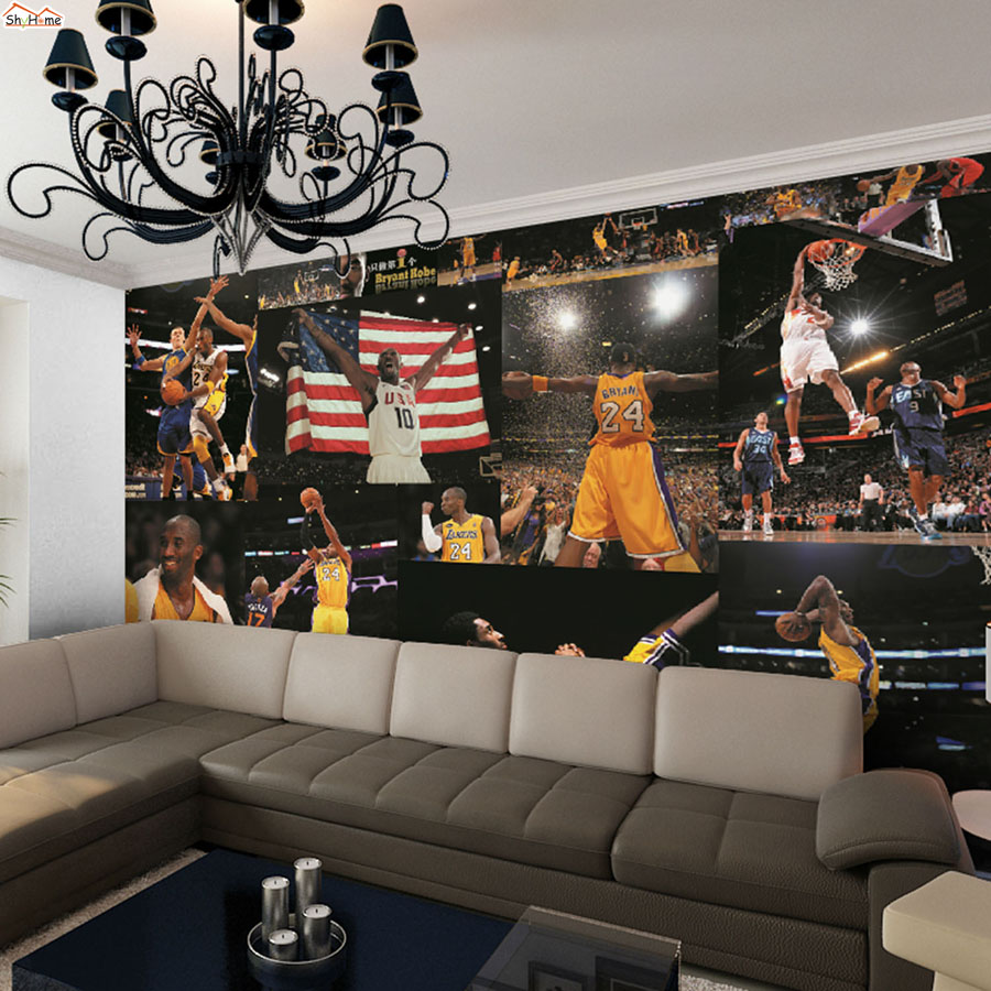 Large World NBA Star Kobe Bryant Lakers Room Wallpaper 3D for Livingroom Wall 3 d Room Embossed Non Woven Mural Rolls Background баскетбольную форму lakers