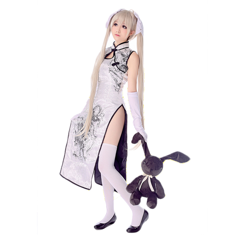 HSIU Sora Kasugano Cosplay Cheongsam  Yosuga No Sora Cosplay Clothing White Or Black Costume+Gloves + Socks + High Heels+Wig
