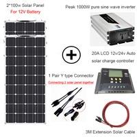 1000 Вт солнечной энергии всей Солнечной системы 2*100 Вт гибкие солнечные панели питания Домашняя одежда солнечной 110 В/ 220 В с инвертором и конт