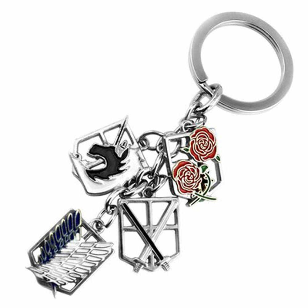 Anime chaveiro ataque Contra Titãs crachá tampa cadeia titular encantos colar de pingente de chave para as chaves do carro da motocicleta