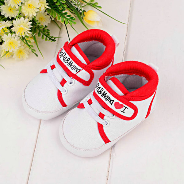 Cute Heart-shaped I Love Mum And Dad Lovely Baby Shoes Girl Soft Bottom Footwear Newborn Baby Shoes