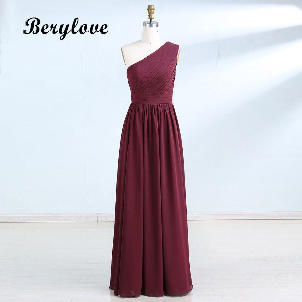 BeryLove Simple Burgundy One Shoulder   Bridesmaid     Dresses   2018 Long   Bridesmaid     Dresses   Wedding Party   Dresses   Chiffon Gowns