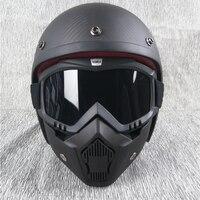 VCOROS open face half motorcycle helmet carbon fiber high grade vintage retro harley motorbike helmets chopper moto helmets