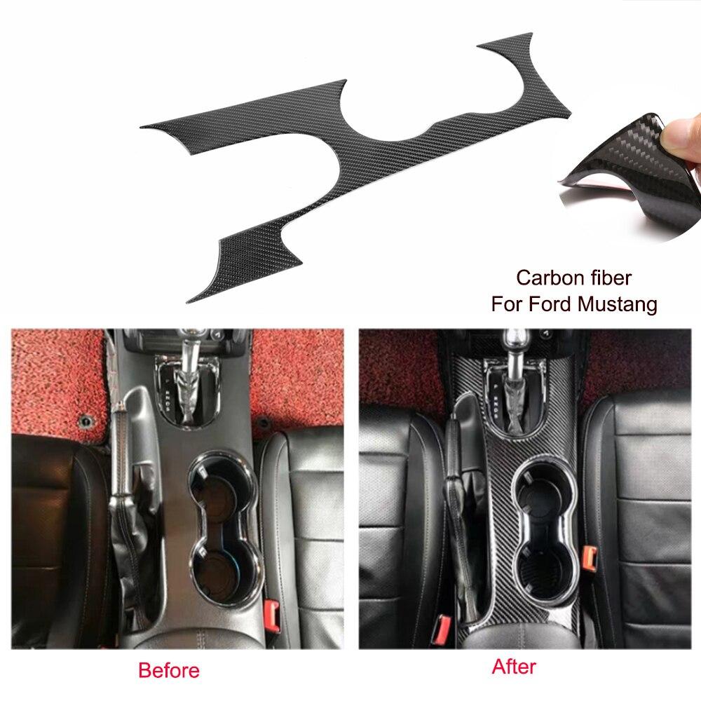 Del Cambio In Fibra di carbonio Supporto di Tazza di Acqua Della Copertura Autoadesivo Per Ford Mustang 2015 2019