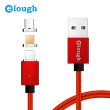 Elough E04 3 in 1 Magnetic Charger USB Data Cable For iPhone Micro USB Type C Mobile Phone Fast Charge Magnet Charger USB Cable