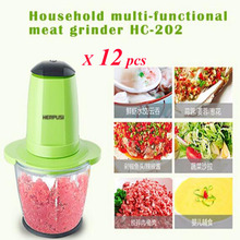 12pcs/lot Household Electric Meat Grinder Multi-Function Small Side Dish Blender Food Mixing Meat Grinders HC-202