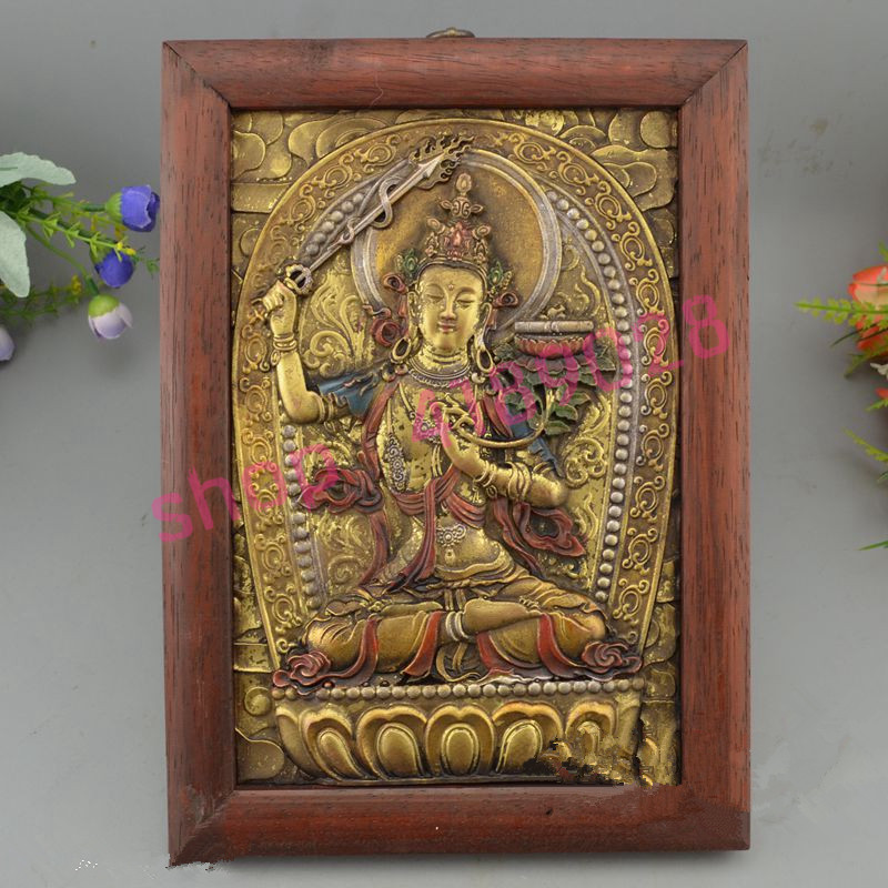 Tibetan Buddhism, rosewood solid wood Thangka decorative paintings, decorations collectibles,3#Tibetan Buddhism, rosewood solid wood Thangka decorative paintings, decorations collectibles,3#