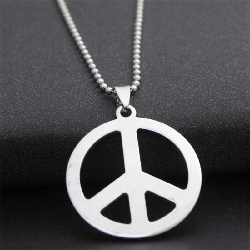 60cm chain stainless steel titanium peace pendant necklaces women party club wear acrylic alloy nickel free fj726