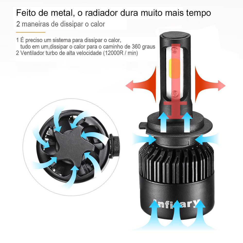 2Pcs Infitary רכב Headllight לשלוח מברזיל H7 LED H4 LED הנורה H1 H3 H11 72W 8000LM 6500K ערפל אור 12V אוטומטי פנס מנורות