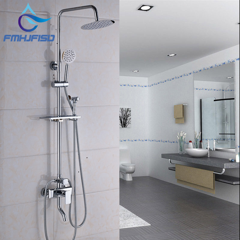 Factory Retail Bathroom Shower Mixer Water Taps with 8 Brass Square Shower Head Chrome Polished