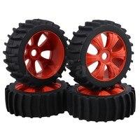 Mxfans 11 7cm Dia Black Rubber Beach Tyre Single 6 Spoke Red Plastic Wheel Rim For