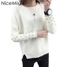 NiceMix 2017 Autumn Pullover Women Elegant Beading Sweater Casual Loose Knitted Female Pullovers