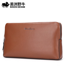 Brand BISON DENIM High Quality Men Clutch Bag Genuine Leather Wallet Business Casual Large Capacity Men's Purse Free Shipping