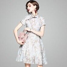 Cheongsam Dress Female Spring 2019 New medium short retro national wind print improved cheongsam dress традиционное китайское платье brand new peking cheongsam ccw005