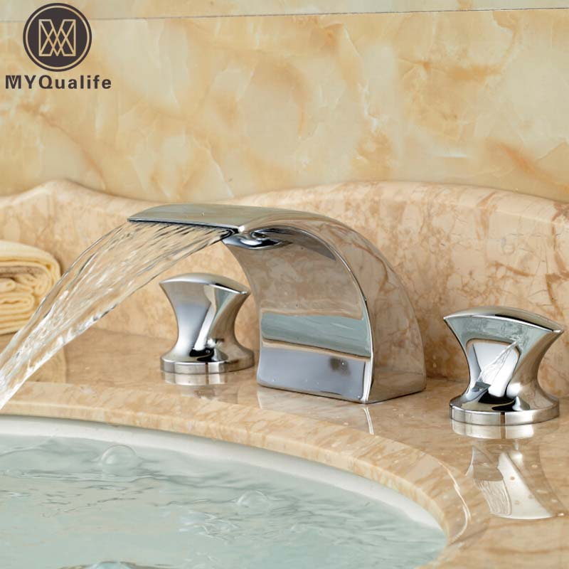 Фотография Polished Chrome Waterfall Spout Basin Mixer Water Taps Double Handle Widespread Lavatory Waterfall Washing Basin Faucet