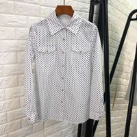 Women black white polka dots print cotton shirts single breasted button up elegant shirt tops new 2019 spring summer