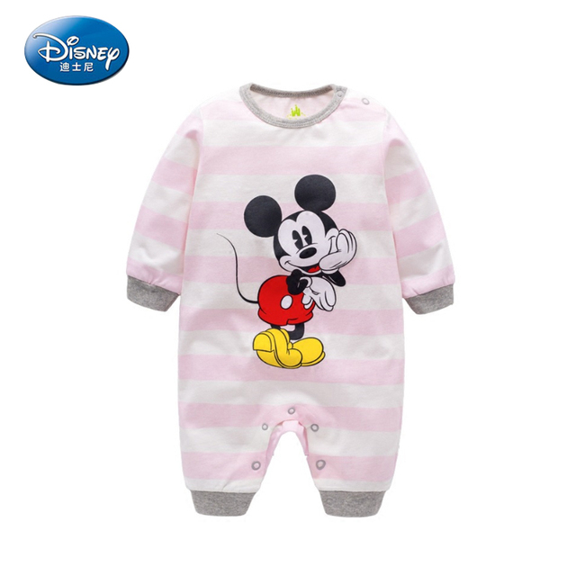 61e196a597584 Disney 2017 Newborn Baby Rompers Girls And Boys Cartoon Cute Long Rompers  Cotton Mickey Minnie Mouse Pullover casual Jumpsuit