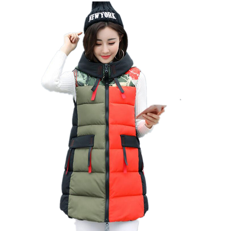 Autumn Winter Hooded Vest Women 2017 New Fashion Waistcoat Plus Size Pockets Zipper Slim Long Vests Lady coletes K197