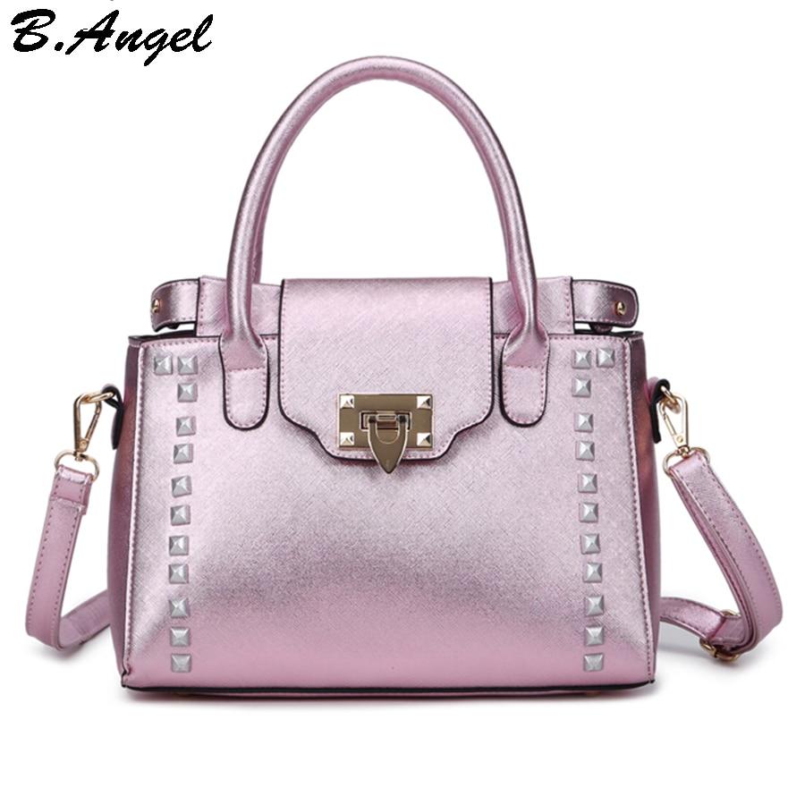 ФОТО High quality bling Rivet women messenger bags fresh women bag fashion bag design handbag casual tote bag