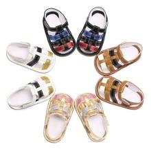 Модные сандалии из ПУ обувь для малышей младенцев Повседневная летняя обувь для мальчиков и девочек обувь на резиновой подошве