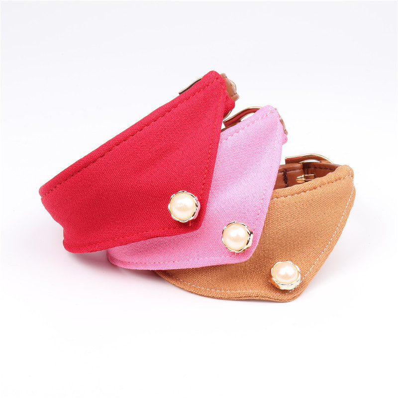 Hot Sales 3 Colors PU Customized Dog Collar with Pure Natural Pearl Fashion Design Dog Cat Sweet Pet Saliva Towel Collars