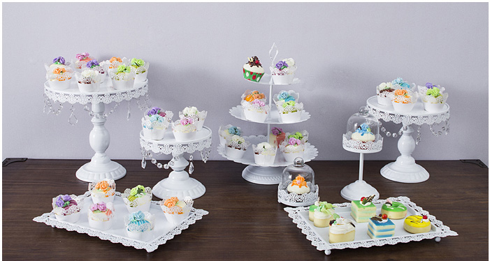 8pcs Set White Cake Stand Wedding Cupcake Stand Set Glass