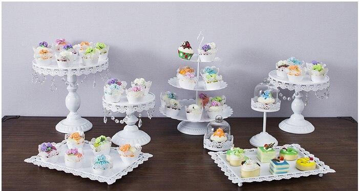 8pcs/set White cake stand wedding cupcake stand set glass dome crystal candy bar decoration cake tools bakeware set