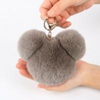 Fluffy Pom Pom REX Rabbit Real Fur Panda Head Keychain Puff bag charm keyring Key chains Gold Hardware Heart Handbag Accessory