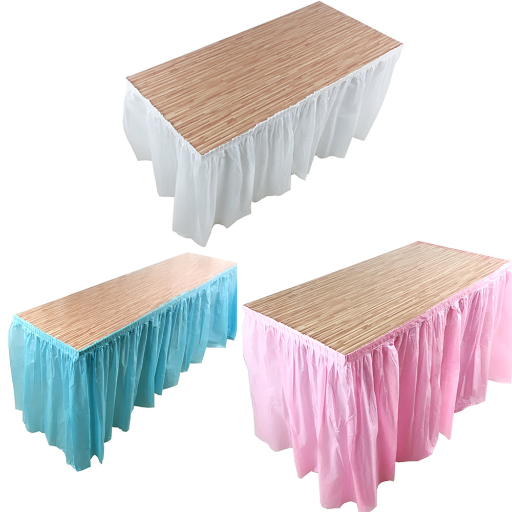 1pcs DIY Plastic Table SKirt Cover Tableware Skirt For Birthday Baby Shower Wedding Home Banquet Party Decoration Home Textile