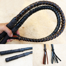 Leather Braided Riding Whips Wood Handle
