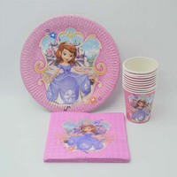 40 pc ורוד נסיכת סופיה עבור בנות מסיבת יום הולדת לילדים קישוט גביע/צלחת/מפית ילדים המפלגה טובות קישוט מתנת אספקת 12