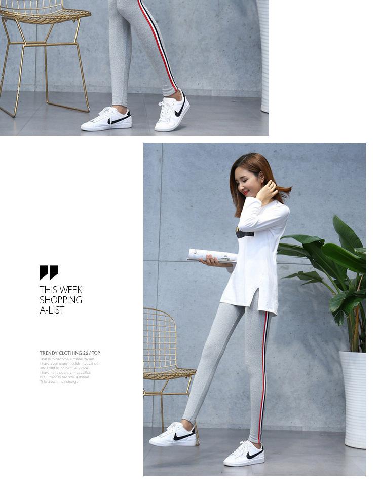 High Quality Cotton Leggings Side stripes Women Casual Legging Pant Plus Size 5XL High Waist Fitness Leggings Plump Female 20